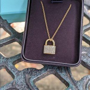 Tiffany Co HardWear Lock Pendant Diamond 18k Gold